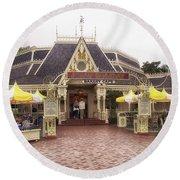 Jolly Holiday Cafe Main Street Disneyland 02 Round Beach Towel