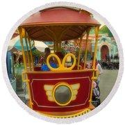 Jolly Trolley Disneyland Toon Town Round Beach Towel