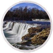 Joplin Grand Falls Overview Round Beach Towel