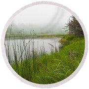 Jordan Pond In Acadia National Park Round Beach Towel