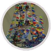 Jose Gaspar Ship Vertical Work Round Beach Towel
