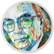 Jose Saramago Portrait Round Beach Towel