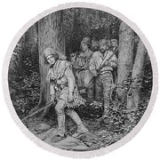 Joseph Brown Leading His Company To Nicojack, The Stronghold Of The Chickamaugas, Engraved Round Beach Towel