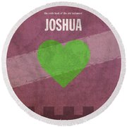 Joshua Books Of The Bible Series Old Testament Minimal Poster Art Number 6 Round Beach Towel