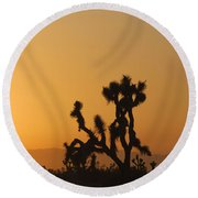 Joshua Tree At Sunset Round Beach Towel