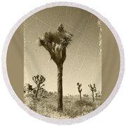 Joshua Tree National Park - Old Vintage Sepia Round Beach Towel