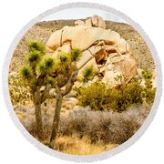 Joshua Tree National Park Skull Rock Round Beach Towel