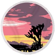 Joshua Tree National Park Vintage Poster Round Beach Towel
