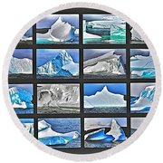 Journey's End For Vanishing Icebergs Assemblage In Saint Anthony-newfoundland  Round Beach Towel