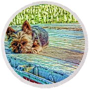 'jovie' Truckin Dogs Need Breaks Too Round Beach Towel