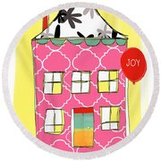 Joy House Card Round Beach Towel by Linda Woods