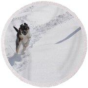 Joy Of Snow Round Beach Towel