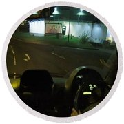 Joy Ride At Mid Night In Paris View From Rear   Of Limo Round Beach Towel