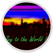Joy To The World - Empire State Christmas And Holiday Card Round Beach Towel