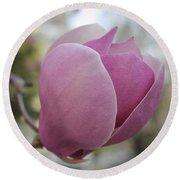 Joyful Pink Magnolia Round Beach Towel