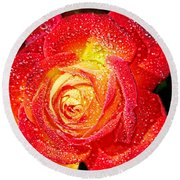 Joyful Rose Round Beach Towel