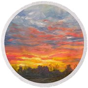 Joyful Sunset Round Beach Towel