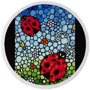 Joyous Ladies Ladybugs Round Beach Towel by Sharon Cummings