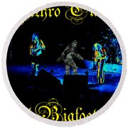 Jt #38 Enhanced In Cosmicolors With Text And Bigfoot 2 Round Beach Towel