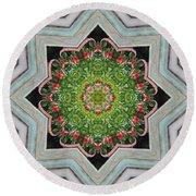 Jubilant Mandevilla Kaleidoscope Pattern Round Beach Towel