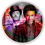 Jude Law And Robert Downey Jr Round Beach Towel