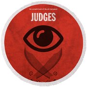 Judges Books Of The Bible Series Old Testament Minimal Poster Art Number 7 Round Beach Towel