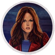 Julianne Moore Round Beach Towel