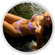 Julie Lay Waterfall Round Beach Towel