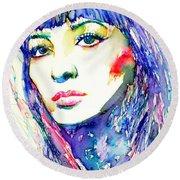 Juliette Greco - Colored Pens Portrait Round Beach Towel