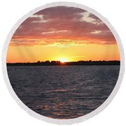 July 4th Sunset Round Beach Towel