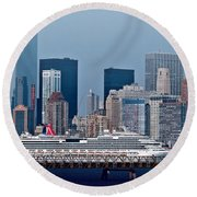 July 7 2014 - Carnival Splendor At New York City - Image 1674-01 Round Beach Towel