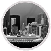 July 7 2014 - Carnival Splendor At New York City - Image 1674-02 Round Beach Towel