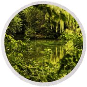 July Tranquil Indian Lake Round Beach Towel