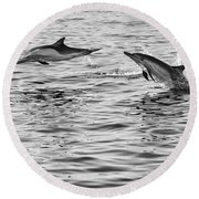 Jump For Joy - Common Dolphins Leaping. Round Beach Towel