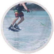 Jumping Wakeboarder Round Beach Towel