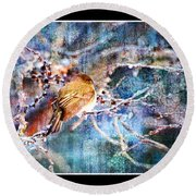 Junco On Icy Branch - Digital Paint II Round Beach Towel