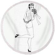 June Bride Round Beach Towel
