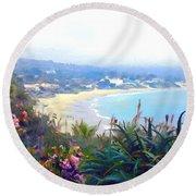 June Gloom Morning At Laguna Beach Coast Round Beach Towel