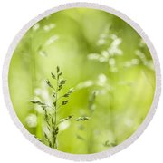 June Green Grass Flowering Round Beach Towel