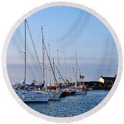 June Morning - Lyme Regis Harbour Round Beach Towel