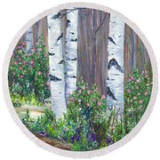 June Roses Round Beach Towel