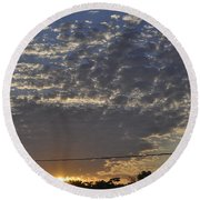 June Sunrise From The Series The Imprint Of Man In Nature Round Beach Towel