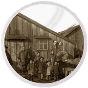 Jung San Choy And Chinese Family Pescadero Village Pebble Beach California Circa 1895 Round Beach Towel