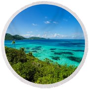 Jungle And Turquoise Water Round Beach Towel