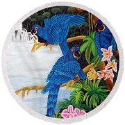 Jungle Chats Hand Embroidery Round Beach Towel