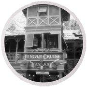 Jungle Cruise Adventureland Disneyland Bw Round Beach Towel