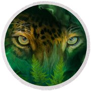 Jungle Eyes - Jaguar Round Beach Towel