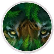 Jungle Eyes - Tiger Round Beach Towel