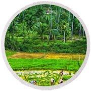Jungle Homestead - Paint  Round Beach Towel