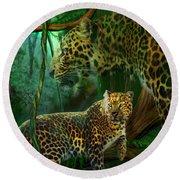 Jungle Spirit - Leopard Round Beach Towel